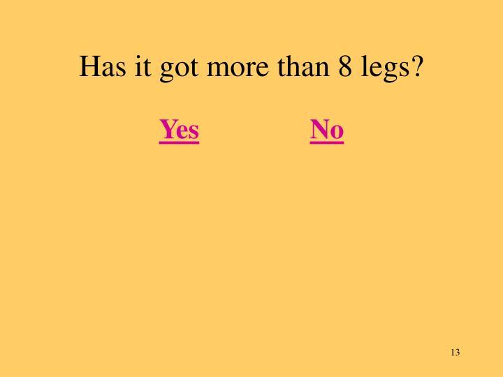 Has it got more than 8 legs?