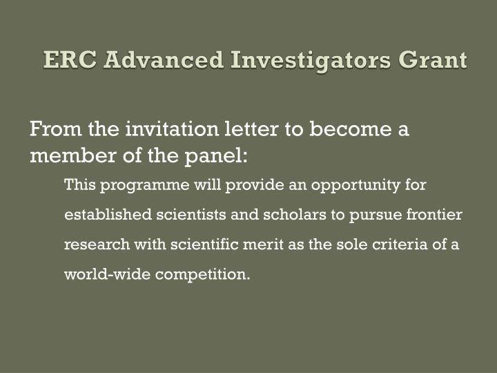 ERC Advanced Investigators Grant