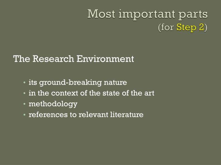 Most important parts