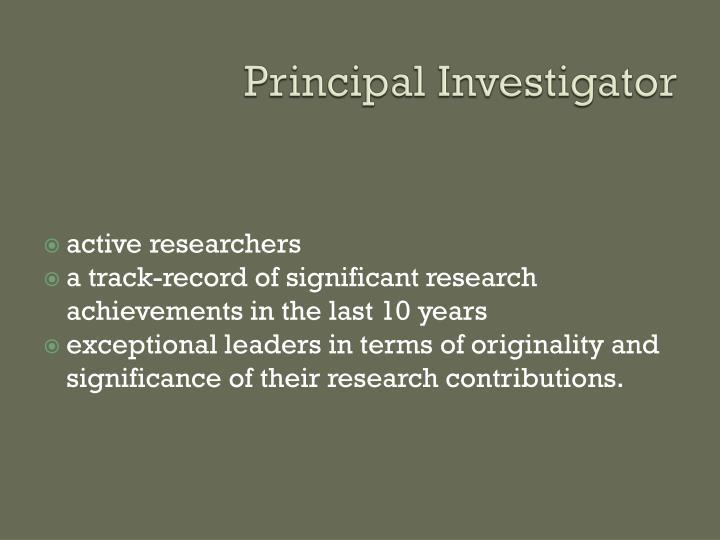Principal Investigator