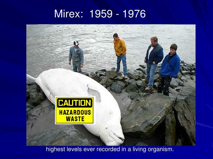 Mirex:  1959 - 1976