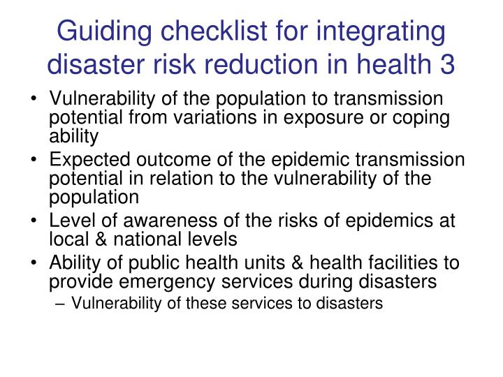 vulnerability assesment during disaster Post-disaster recovery and vulnerability during and after disaster events public response to organizations is driven both by rational assessment of.