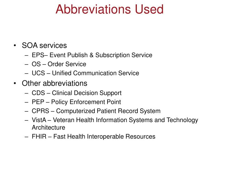 Abbreviations used