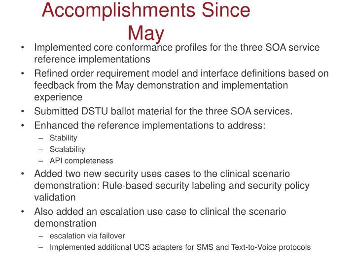Accomplishments Since