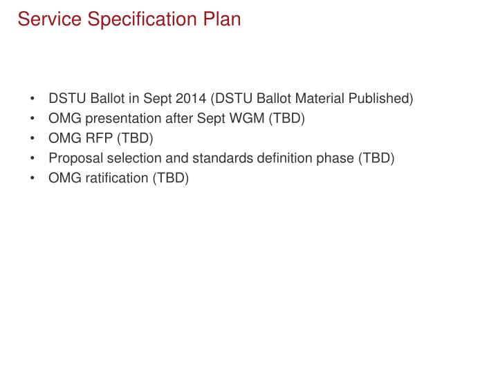 Service Specification Plan