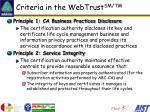 criteria in the webtrust sm tm