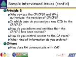 sample interviewed issues cont d
