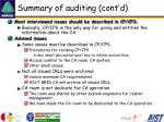 summary of auditing cont d