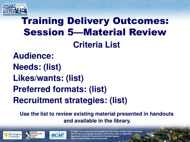 Training Delivery Outcomes: