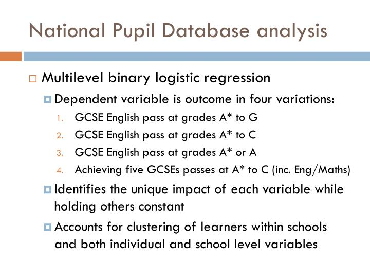 National Pupil Database analysis