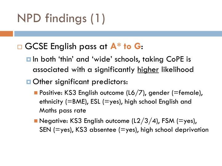 NPD findings (1)