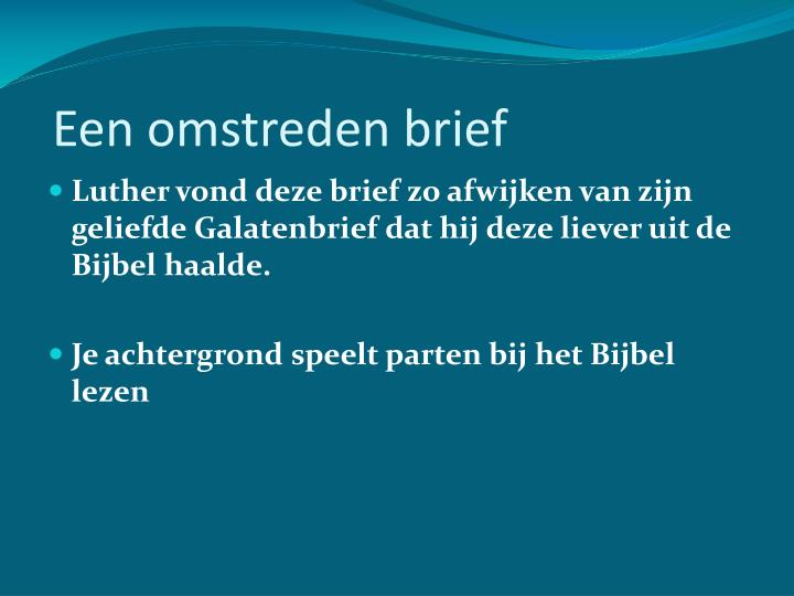 Een omstreden brief