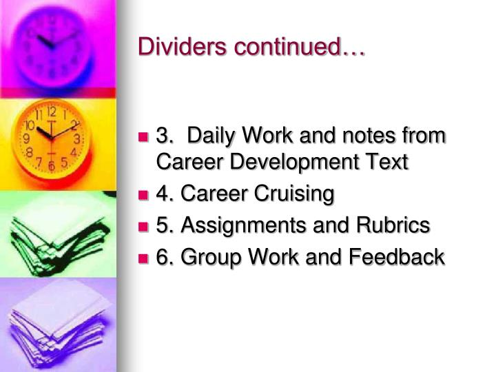 Dividers continued…