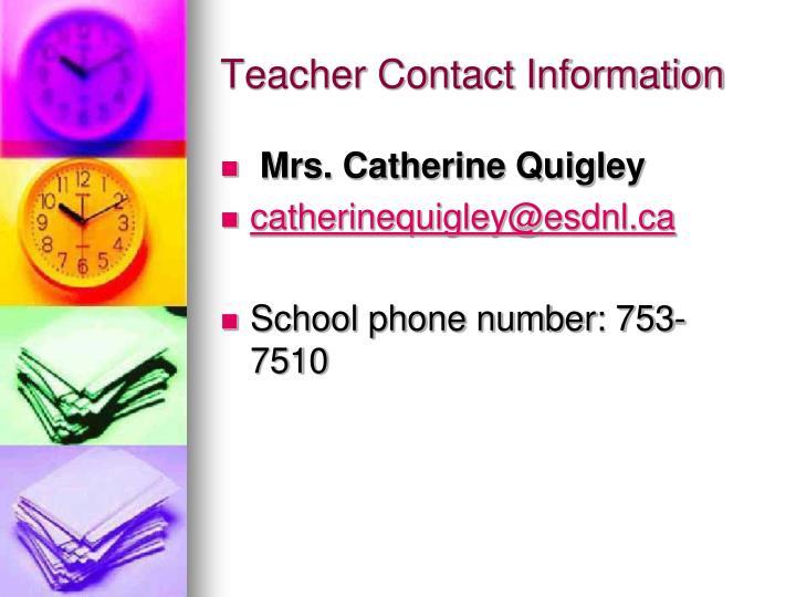 Teacher Contact Information