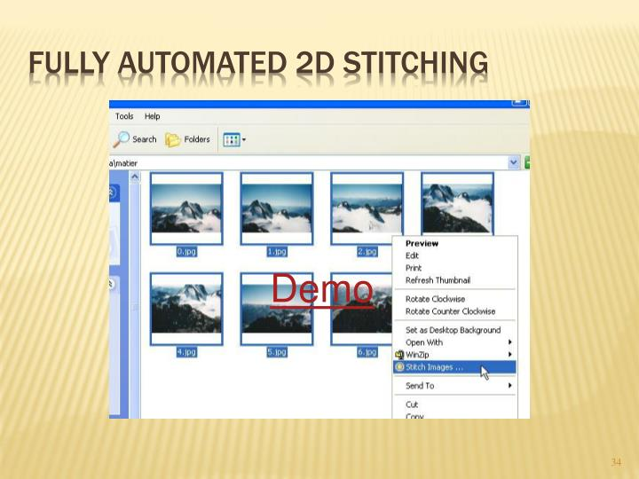 Fully automated 2D stitching