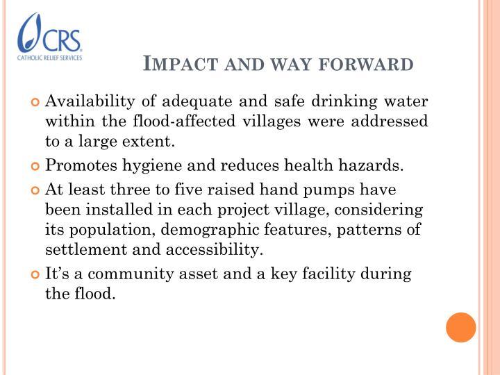 Impact and way forward