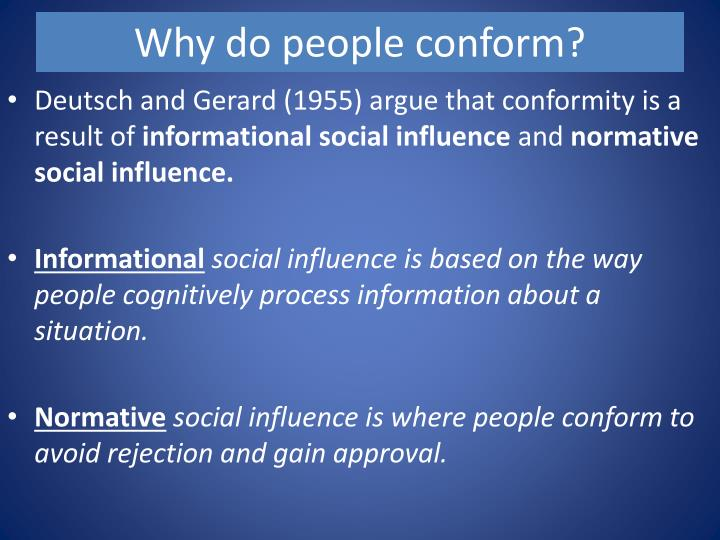 normative and informational influence Explanations for conformity including informational social influence and normative social influence for as/a level psychology unit 1 7181 new specification.