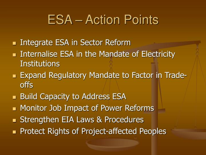 ESA – Action Points