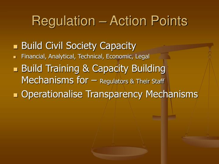 Regulation – Action Points