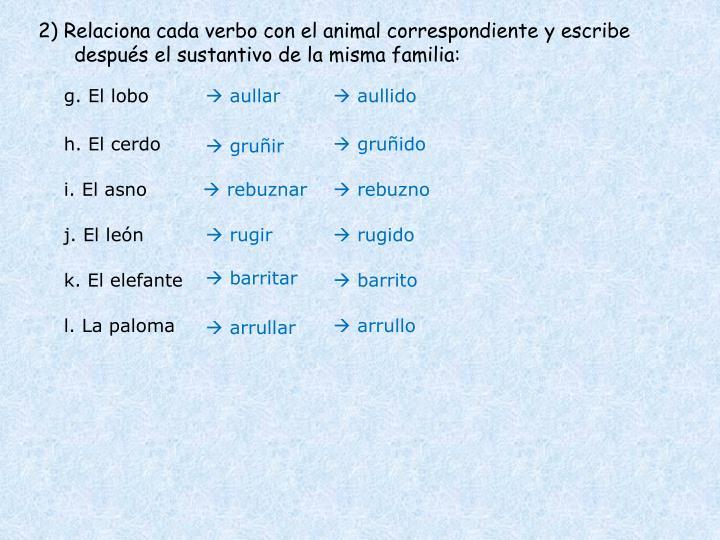 2) Relaciona cada verbo con el animal correspondiente y escribe después el sustantivo de la misma familia: