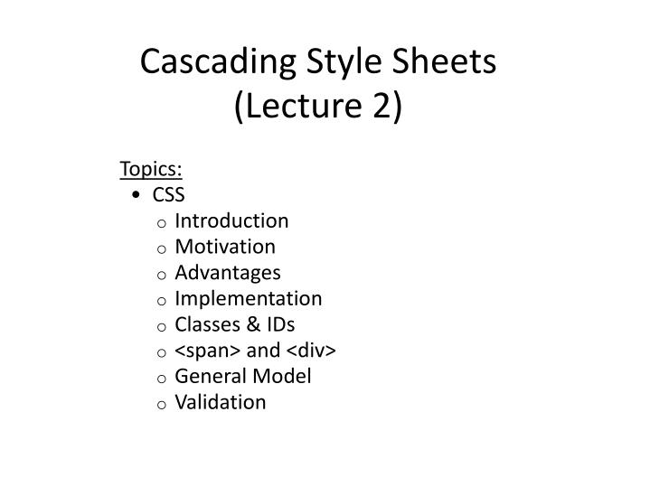 cascading style sheets lecture 2 n.