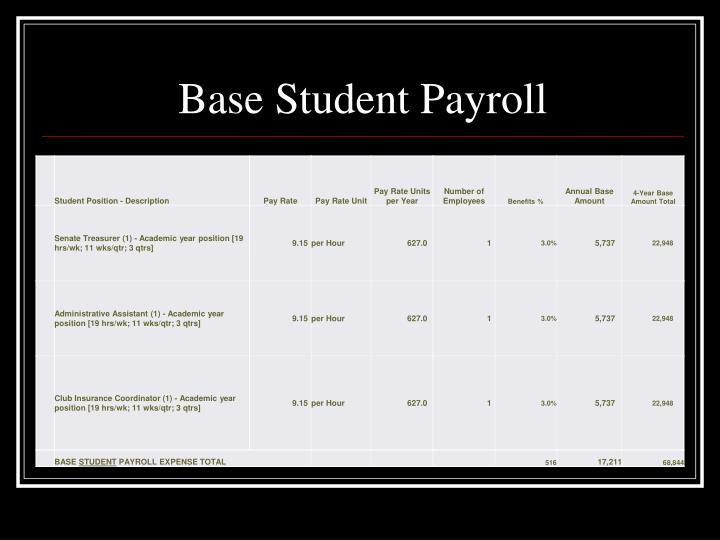 Base Student Payroll