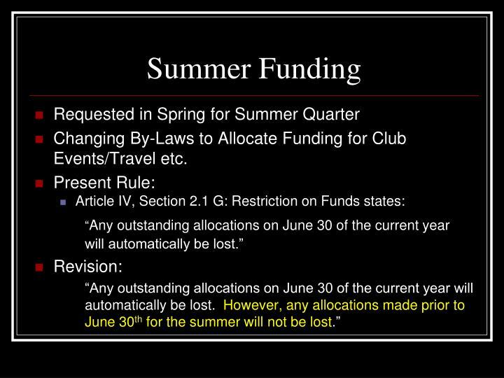 Summer Funding