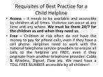 requisites of best practice for a child helpline