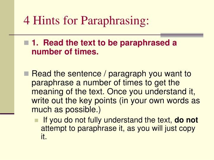4 Hints for Paraphrasing: