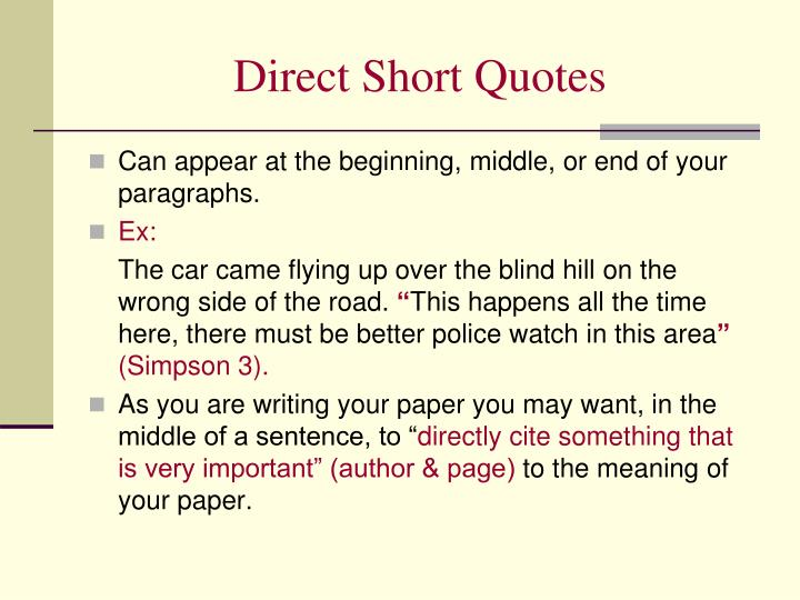 Direct Short Quotes