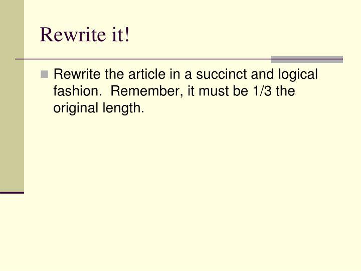 Rewrite it!