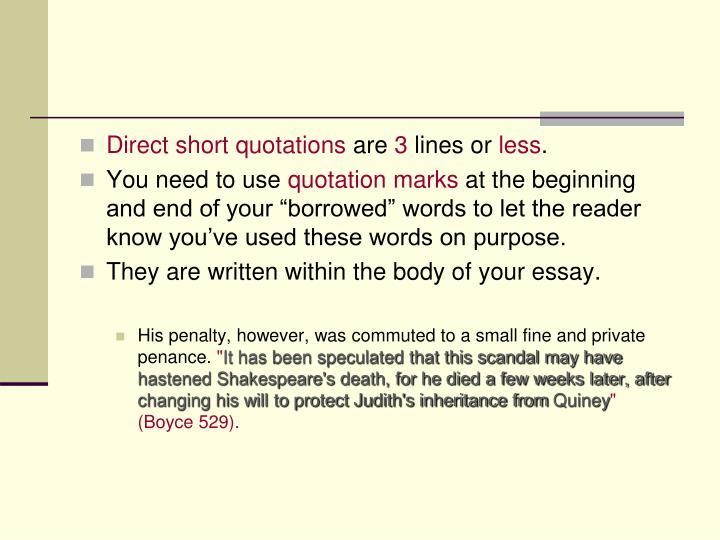 Direct short quotations