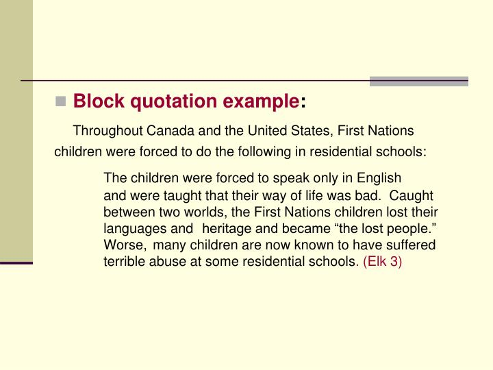 Block quotation example