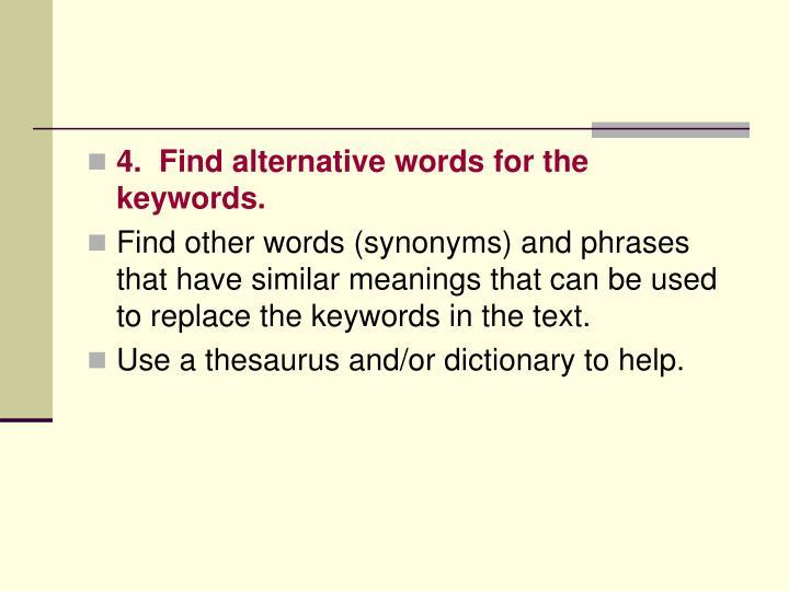 4.  Find alternative words for the keywords.