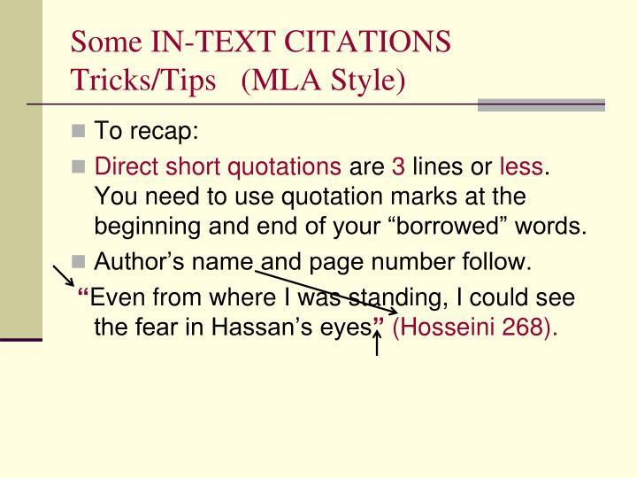 Some IN-TEXT CITATIONS Tricks/Tips   (MLA Style)
