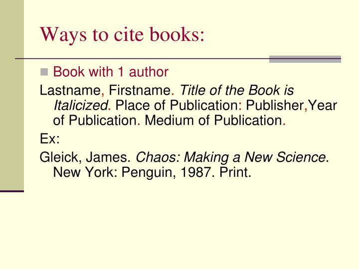 Ways to cite books: