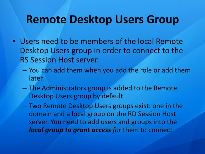 Remote Desktop Users Group