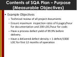 contents of sqa plan purpose measurable objectives