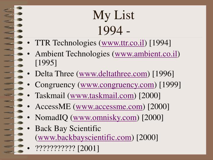 My list 1994