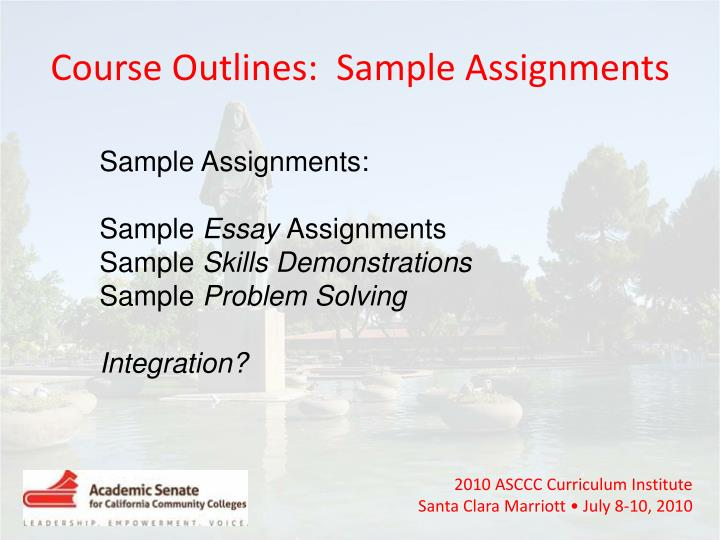 Course Outlines:  Sample Assignments