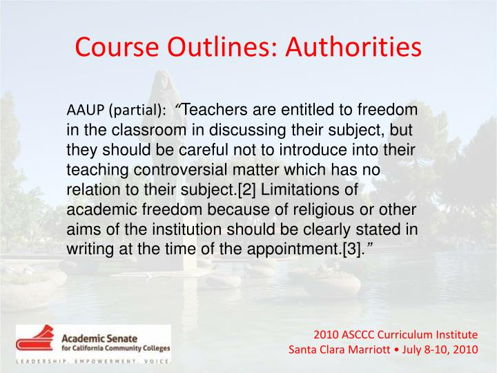 Course Outlines: Authorities
