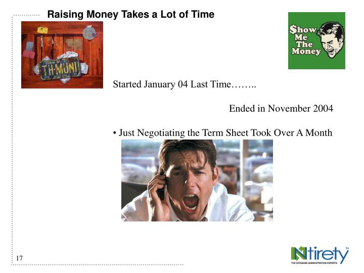 Raising Money Takes a Lot of Time