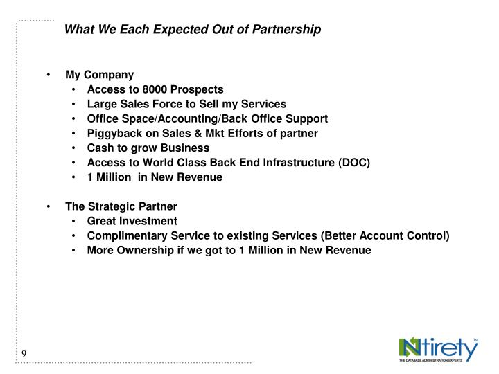 What We Each Expected Out of Partnership