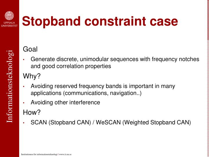 Stopband constraint case