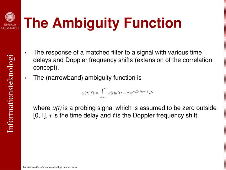 The Ambiguity Function