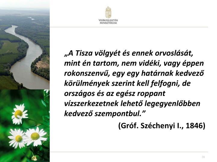 """""""A Tisza völgyét és ennek orvoslását, mint én tartom, nem vidéki, vagy éppen rokonszenvű, egy"""