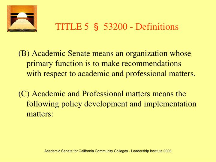 TITLE 5 § 53200 - Definitions
