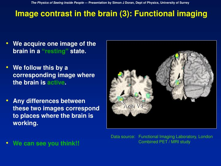 Image contrast in the brain (3): Functional imaging
