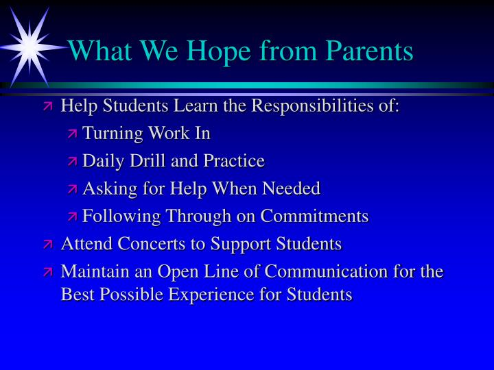What We Hope from Parents