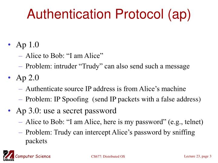Authentication protocol ap